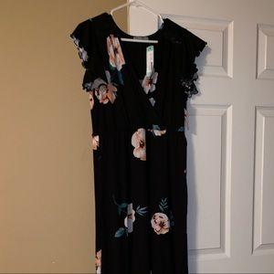 Loveappella black floral maxi dress NWT